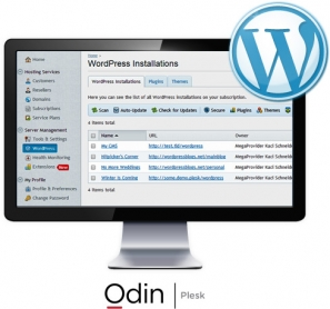 Odin's Plesk WordPress Toolkit Screen in a Desktop Monitor with WordPress Logo