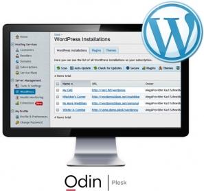 Odin's Plesk WordPress Toolkit Screen in a Desktop Monitor with WordPress Logo